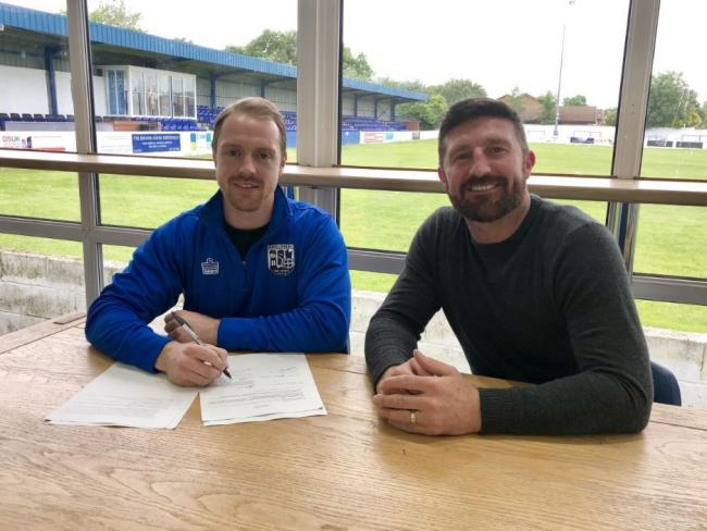 LANDED: Ex-Marine striker Danny Mitchley and Jon Macken at Radcliffe Boro
