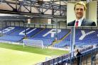Gigg Lane, the home of Bury Football Club. Inset: Bury North MP James Frith
