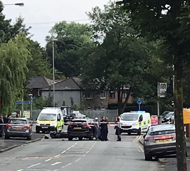 Scene following crash near the junction of Heywood Road and Rectory Lane, Prestwich. Photo: Philip Smith-Lawrence and with thanks to Original Prestwich People
