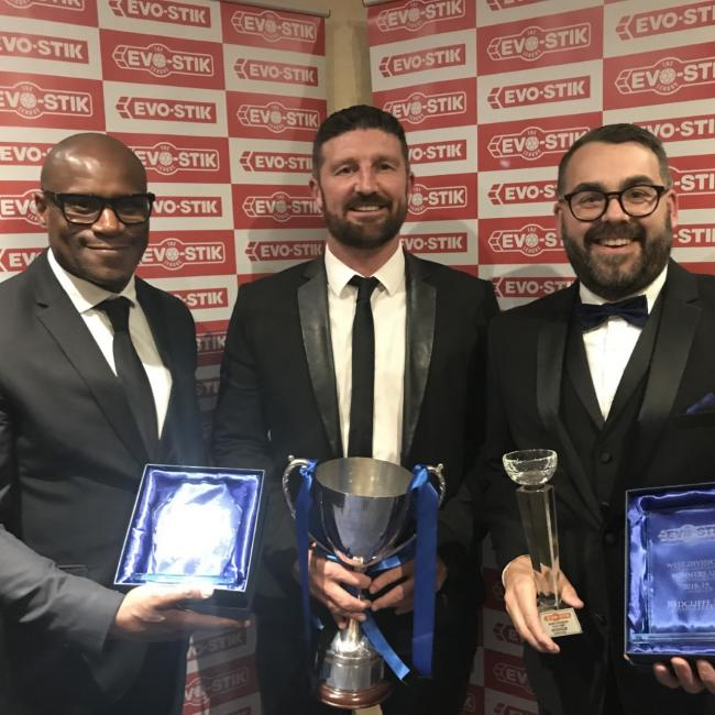 RAD PACK: Frank Sinclair, Jon Macken and Paul Hilton at the NPL awards