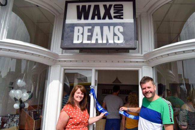 Louise Jackson and Ben Soothill at the opening on Wax and Beans in Haymarket Street last summer. A move to the former Nationwide Building Society premises in Market Street is now on the cards