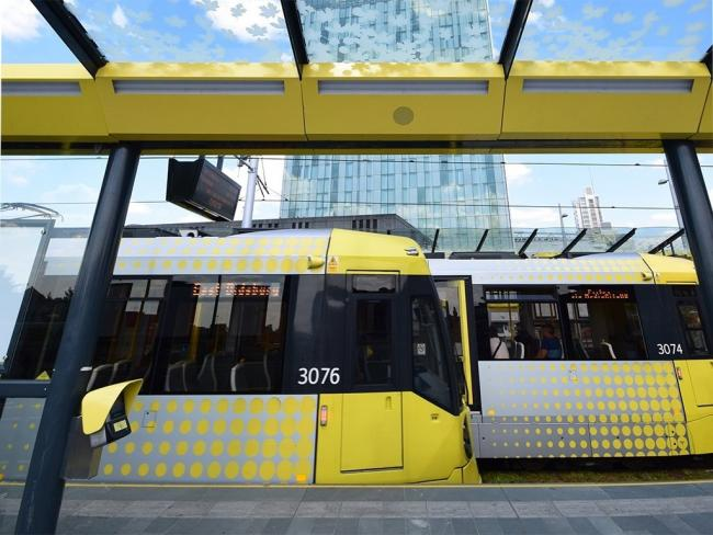 Metrolink tram outside the Beetham Tower, Manchester. Picture: TfGM
