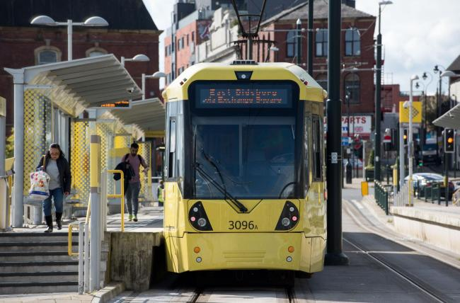Metrolink tram at Oldham Mumps stop.
