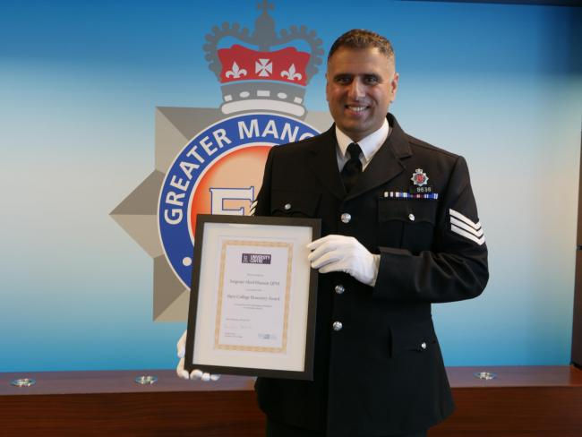 Sergeant Abed Hussain with his Honorary Award