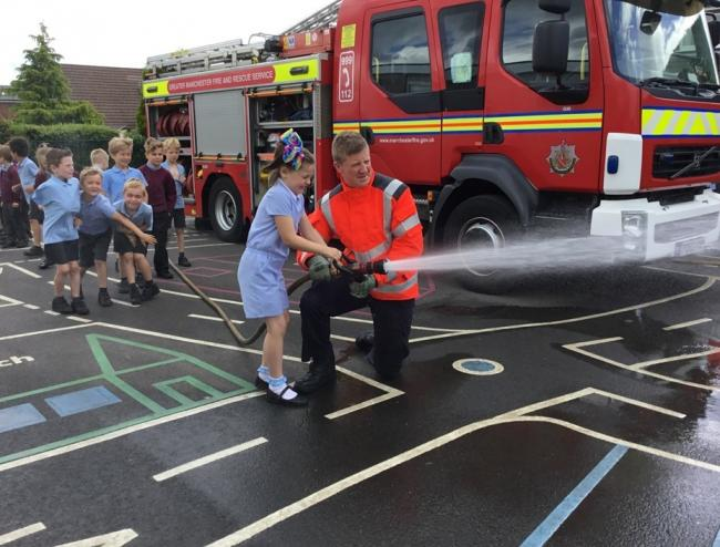 Firefighters speak to pupils as part of Old Hall Primary School's Aspirations Week
