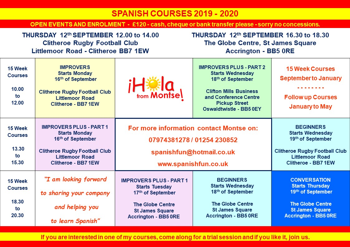 Spanish 15 Week Courses 2019-2020