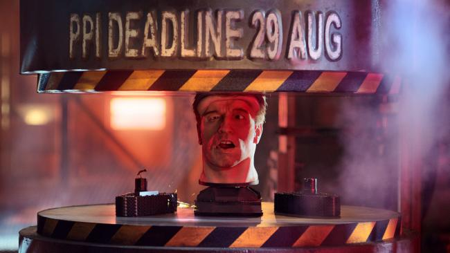 Photo issued by the Financial Conduct Authority of the animatronic head of Arnold Schwarzenegger being placed in a hydraulic press during an advert to remind people they have just one month left to complain about PPI