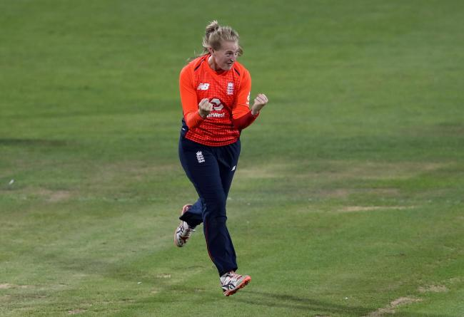 England's Sophie Ecclestone celebrates taking the wicket of Australia's Delissa Kimmince during the Ashes T20 match at Bristol County Ground..