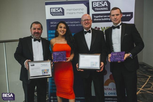Melissa Lee and James Hoare, with Exte Hargreaves bosses, at the BESA awards