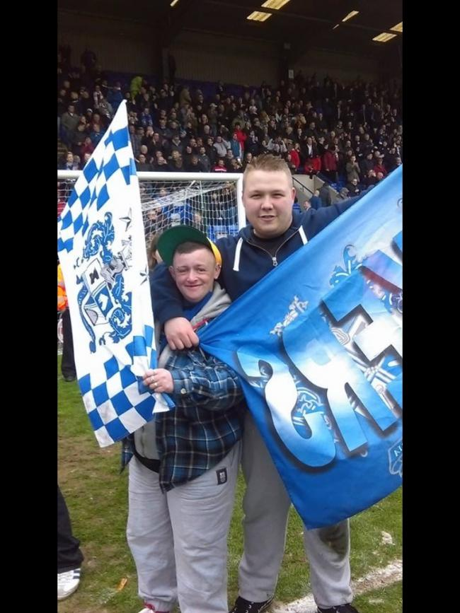 my second time getting to watch my home town club get promotion to league one at Tranmere Rovers (in photo me and my friend debra duke)