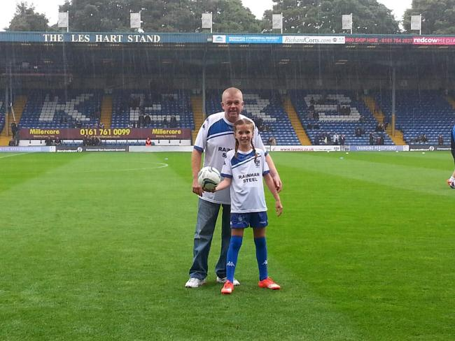 My youngest daughters 1st visit to gigg Lane in September 2016 V port Vale. She was mascot that day and what a moment to treasure. My 1st visit was 1986 I was 12. My dad took me.