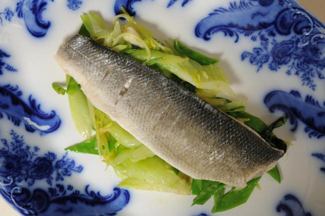 Steamed seabass with ginger