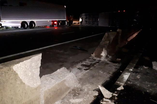 The damaged barrier on the M6