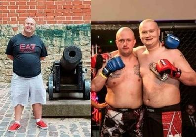David Baron before his weight-loss (left) and on fight night with a fellow competitor