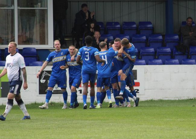 Radcliffe celebrate Liam Ellis' goal against Matlock. Picture by Beth Lee