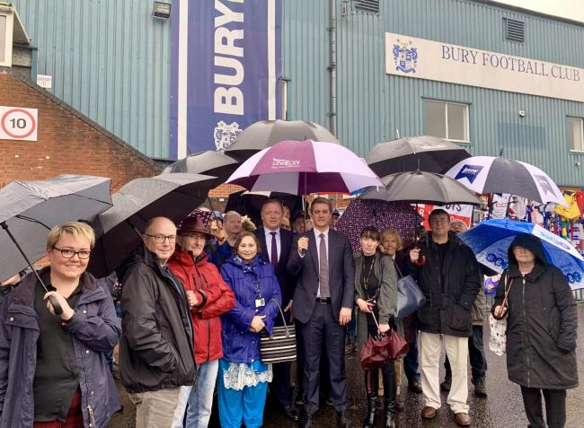 Damian Collins MP with James Frith MP at Gigg Lane