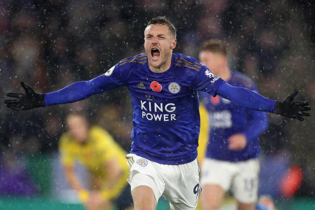 Leicester City's Jamie Vardy celebrates his opener against Arsenal