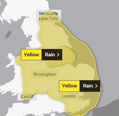 A yellow weather warning for rain has been issued