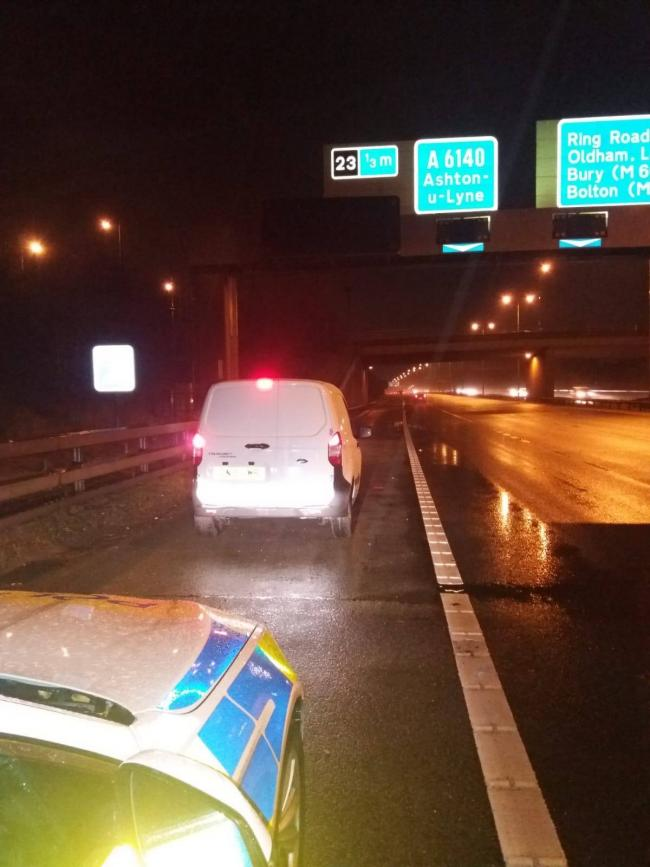 The driver of this white van was stopped by police after middle lane hogging for four miles