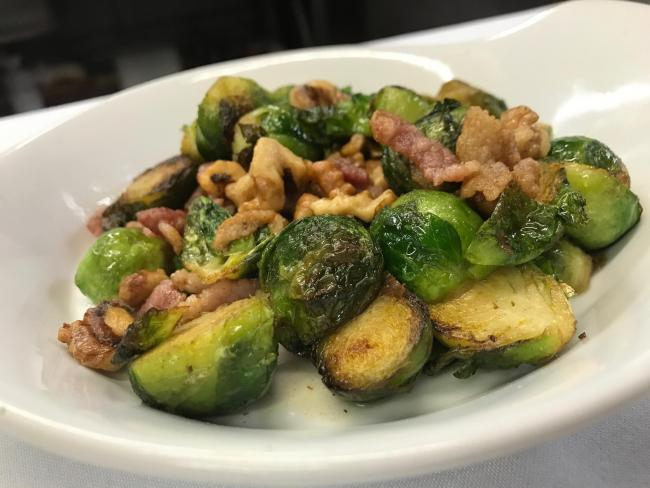 Nick Cullen's sprouts with bacon and walnuts