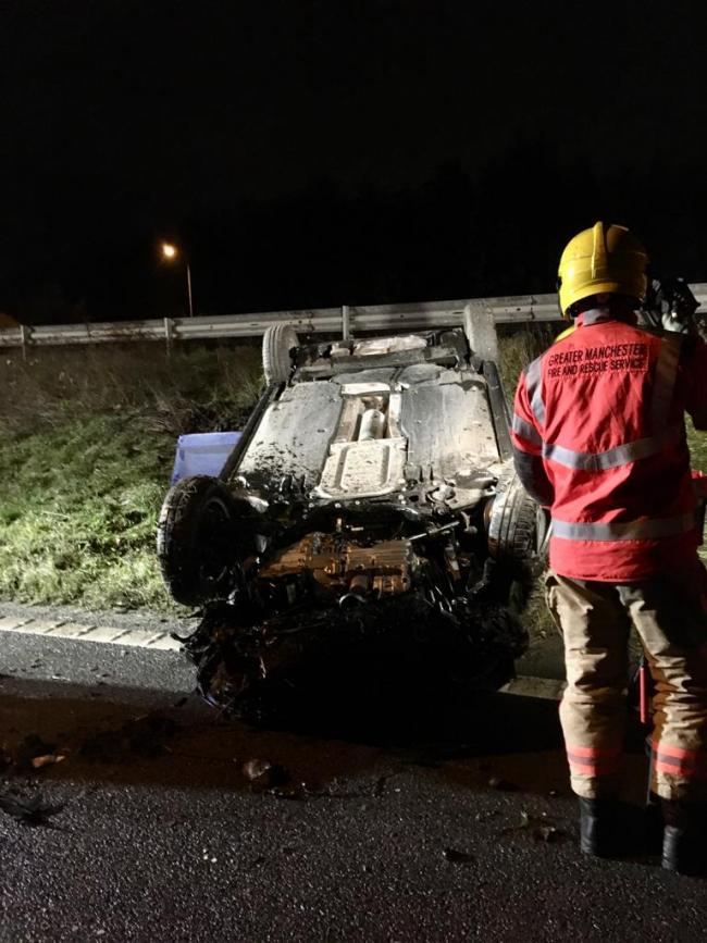 Fire crews from Whitefield attended the incident on the M66