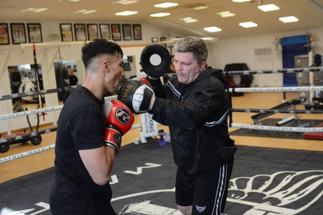 Ibrahim Nadim in training with Ricky Hatton