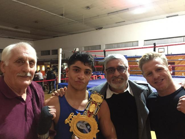 A NEW KING KHAN? From left, Mike Jelley, Abdul Khan, Shah Khan and Gary Sykes (British champion).