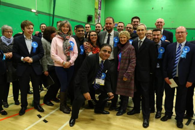 Bury Conservatives celebrate after winning both of the borough's Parliamentary constituencies and Church ward