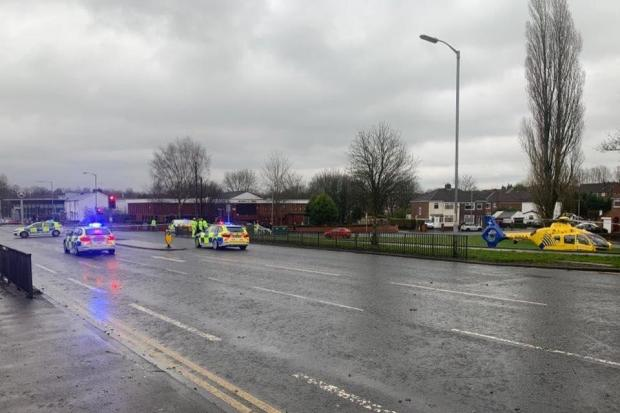 Emergency services respond to crash in Manchester Road. Photo: Ian Forshaw