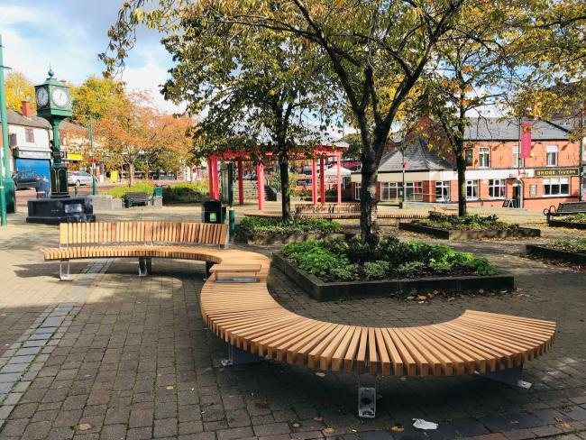 One of the new benches installed in Radcliffe town centre.