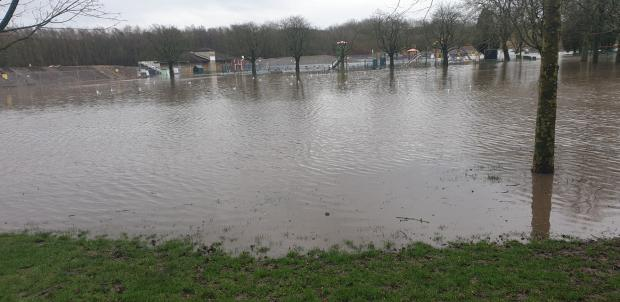 Bury Times: Flooding in Close Park, Radcliffe. Picture, Paul O'Brien