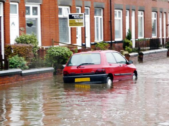 Flooding in Chesham Road, Bury, in 2009