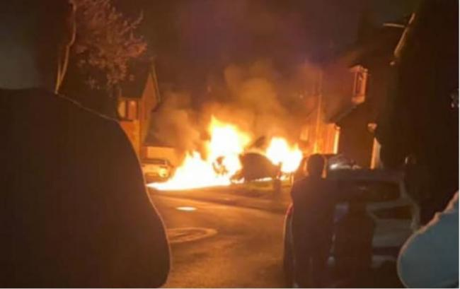 Cars on fire after being targeted by arsonist in Valley Avenue, Woolfold, Bury.