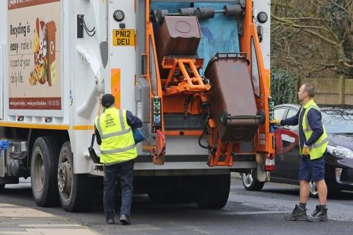 Bury Council staff during bin collection