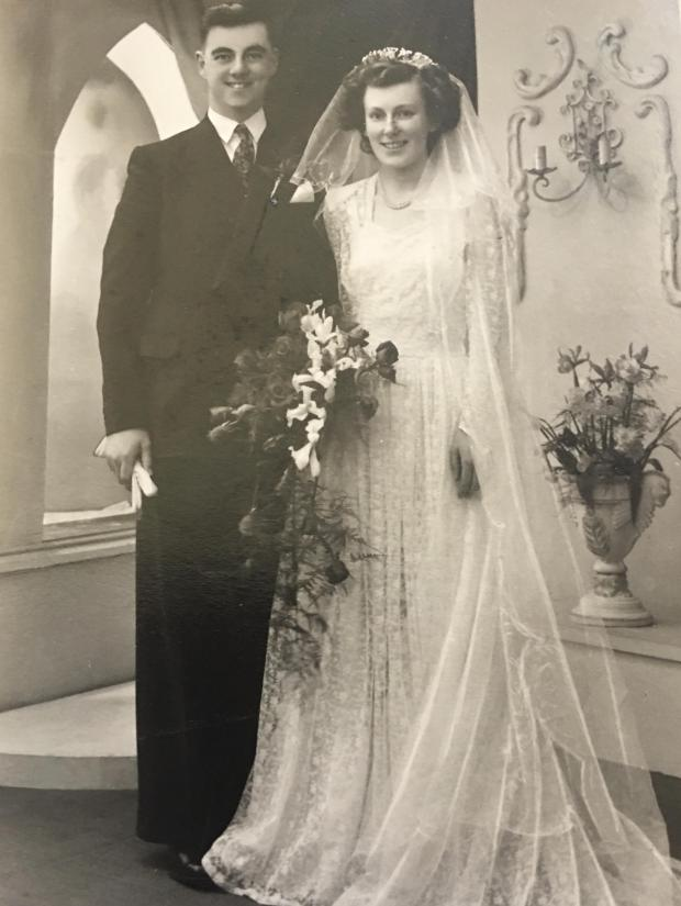 Bury Times: Tom and Vilma Hitchen on their wedding day on April 15, 1950