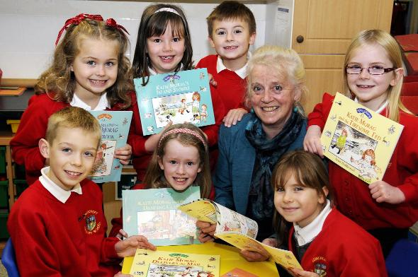ISLAND TALES: Author and illustrator Mairi Hedderwick meets some of the pupils and reads a story from one of the Katie Morag books