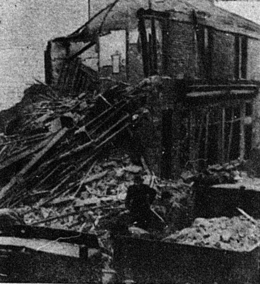 Bury Times: Damage in Chapel Street, Tottington, following a German V-bomb attack on Christmas Eve, 1944. Eight people were killed.