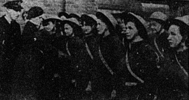 Bury Times: Girl members of the Bury and district division of the National Fire Service, during the Second World War, in 1945