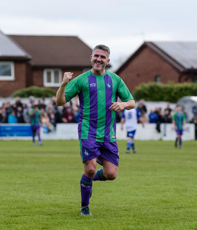 Ryan Lowe during the Bury Legends and All Stars game at Radcliffe FC back in October. Picture: Andy Whitehead