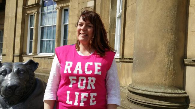 Cancer survivor Carolyn Hall who is inspiring people to Race for Life at home