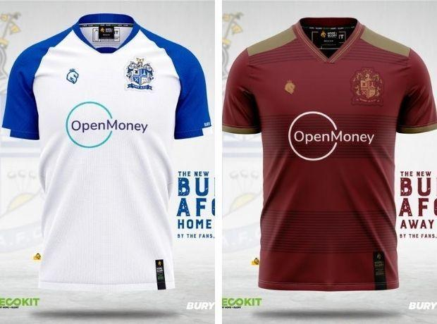 Bury AFC's new home and away shirts