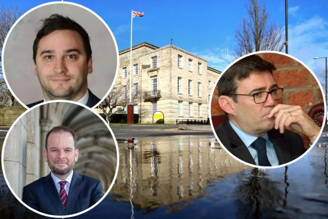 Bury MPs Christian Wakeford (top left) and James Daly (bottom left) clash with Andy Burnham after he said it would be 'impossible' to lift lockdown measures in one borough. All pictures in front of Bury Town Hall