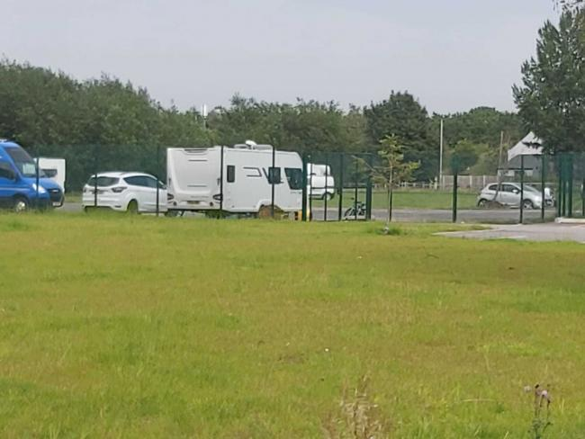 Travellers at Mersey Drive Primary yesterday