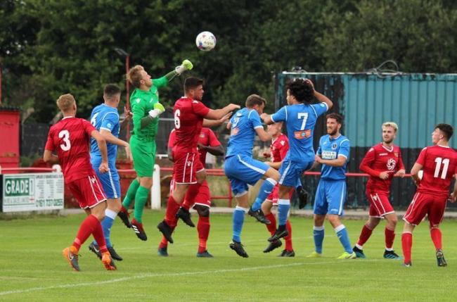Action from Prestwich Heys against Padiham on Saturday. Picture: Beth Lee