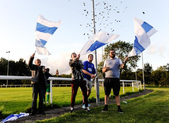 Bury AFC fans at their first game against Daisy Hill. Picture: Andy Whitehead