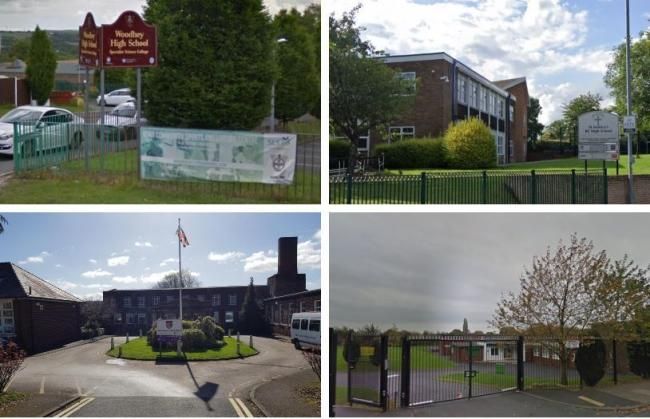 More schools in Bury with confirmed coronavirus cases: (clockwise from top left) Woodhey High School, St Monica's RC High School, St Joseph and St Bede RC Primary School and Tottington High School. Photos: Google Maps