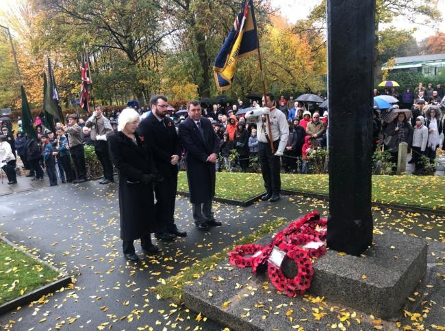 Prestwich residents and councillors turned out in force for the village's Remembrance service