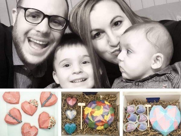 Emily Aronson, with husband Jeremy and sons Alfie and Oscar, and some of her sweet treats, below