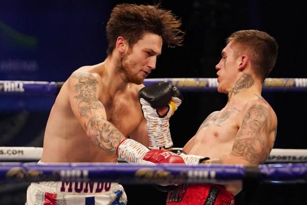 Ben Ridings, right, in action against Jez Smith. Picture: Matchroom Boxing