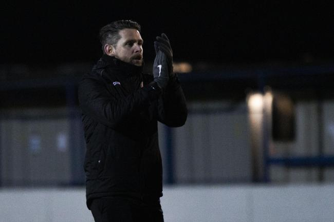 Andy Welsh salutes the Bury AFC fans after the win against Garstang. Picture: Haydan Roberts